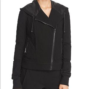 Blanc noir quilted hooded Moto jacket
